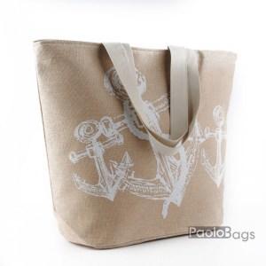 Плажна чанта ленена с котви 27696