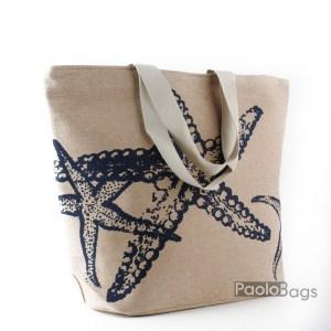 Плажна чанта ленена с морска звезда 27695