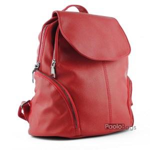 Червена дамска раница с джобчета