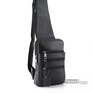 Евтина мъжка чанта от естествена кожа за гърди или гръб