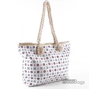 Плажна чанта бяла с морски мотиви 27904