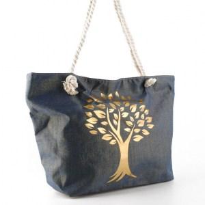 Плажна чанта синя със златна котва 27903