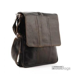 Луксозна мъжка чанта от естествена кожа протъркана