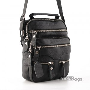 Евтина мъжка чанта от естествена кожа с много ципове