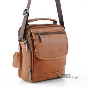 Евтина мъжка чанта от естествена кожа с две отделения