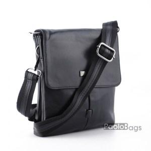 Луксозна мъжка чанта от естествена кожа с капак и две отделения