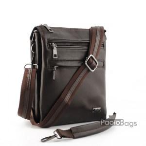Луксозна мъжка чанта от естествена кожа с три отделения