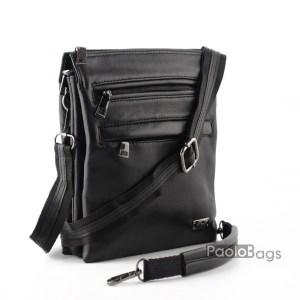 Луксозна мъжка чанта от естествена кожа с три отделения черна