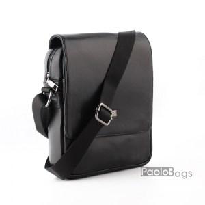 Луксозна мъжка чанта от естествена кожа с капак евтина