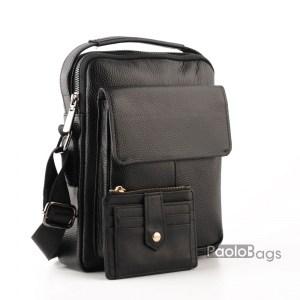 Луксозна мъжка чанта от естествена кожа с голям преден джоб