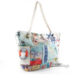 Голяма плажна чанта модел 26443-1 шарена цветна
