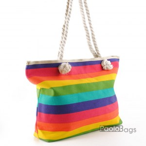 Плажна чанта синя с цветни райета 27697-1