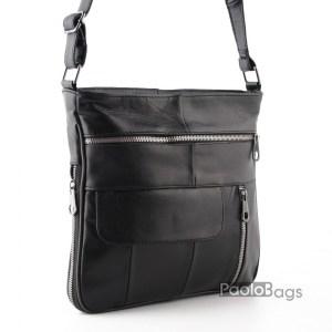 Луксозна мъжка чанта от естествена кожа тип плик двулицева