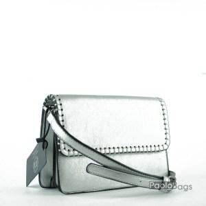 Сребърна малка чанта за през рамо