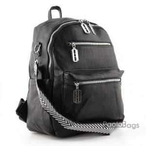 Дамска раница кожена 2в1 и чанта черна 27217