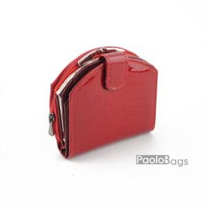 Малко дамско портмоне от естествена кожа красиво с обла форма 27254
