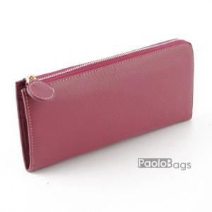 Дамско портмоне с цип от естествена кожа пастелно 27268
