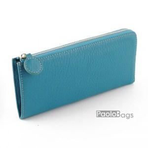 Дамско портмоне с цип от естествена кожа пастелно 27269