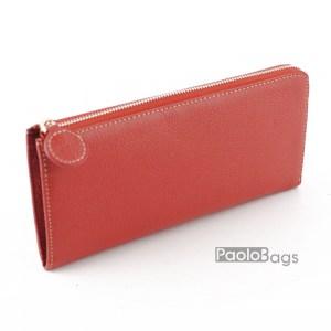 Дамско портмоне с цип от естествена кожа пастелно 27270