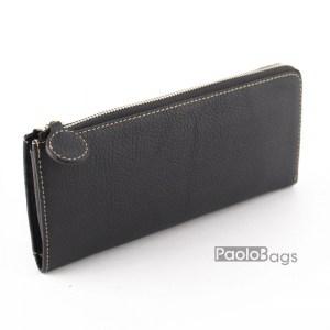 Дамско портмоне с цип от естествена кожа пастелно 27271