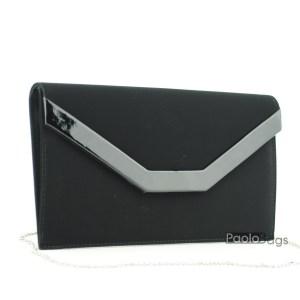 Набук черна чанта тип клъч плик вечерна официална със стилен и елегантен дизайн