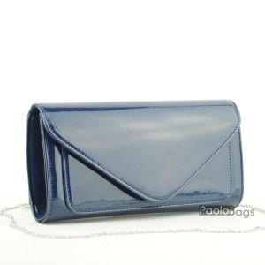Синя чанта тип клъч плик вечерна официална със стилен и елегантен дизайн изчистен модел