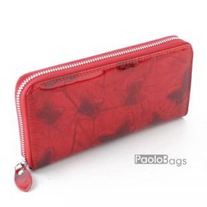 Дамско портмоне с цип от естествена кожа с пеперуди 27262