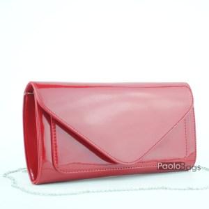 Червена лачена чанта тип клъч плик вечерна официална със стилен и елегантен дизайн изчистен модел