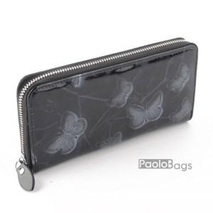 Дамско портмоне с цип от естествена кожа с пеперуди 27263