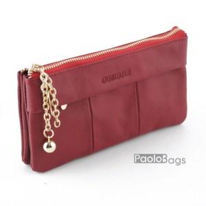 Дамско портмоне с цип от естествена кожа меко 27264