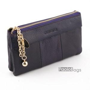 Дамско портмоне с цип от естествена кожа меко лилаво 27265
