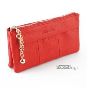 Дамско портмоне с цип от естествена кожа меко червено 27266