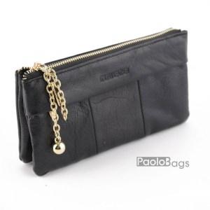 Дамско портмоне с цип от естествена кожа меко черно 27267