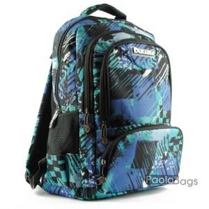 Синя евтина ученическа раница в пастелни цветове синьо зелена