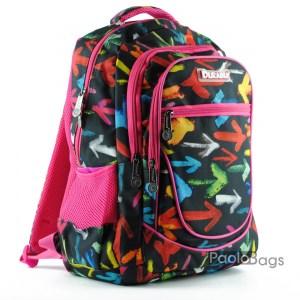 Евтина ученическа раница в пастелни цветове с цветни стрелки