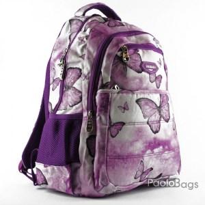 Евтина ученическа раница лилава с пеперуди за момиче