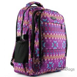 Евтина ученическа раница етно в лилав цвят за момичета