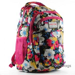 Евтина ученическа раница с три джоба кобинация от цветове розова