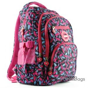 Розова ученическа раница евтина със шарка