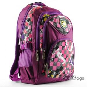 Евтина ученическа раница със стилна шарка лилава