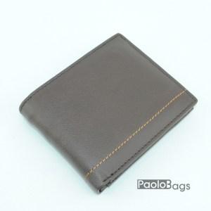 Мъжки портфейл от естествена кожа кафяв 18200