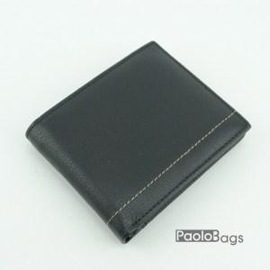 Мъжки портфейл от естествена кожа черен 18201