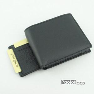 Мъжки портфейл от естествена кожа черен 18202