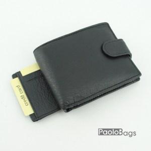 Мъжки портфейл от естествена кожа черен 18203
