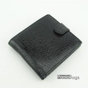 Мъжки портфейл от естествена кожа черен 18206