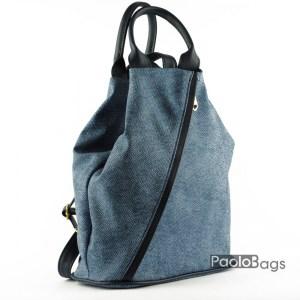 Синя дънкова дамска раница с удобни дръжки за носене в ръка изчистен и модерен дизайн синя имитация на дънков плат