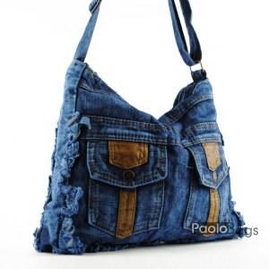 Дънкова дамска чанта с джобчета за през рамо евтина лека и практична среден размер