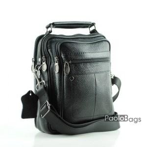 Луксозна маркова мъжка чанта от естествена кожа за рамо черна
