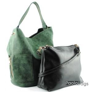 Дамска чанта тип торба зелена 21046