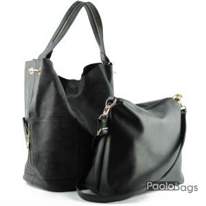 Дамска чанта тип торба черна 21049